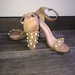 Nude Chunky heel pearl detail sandals ankle tie